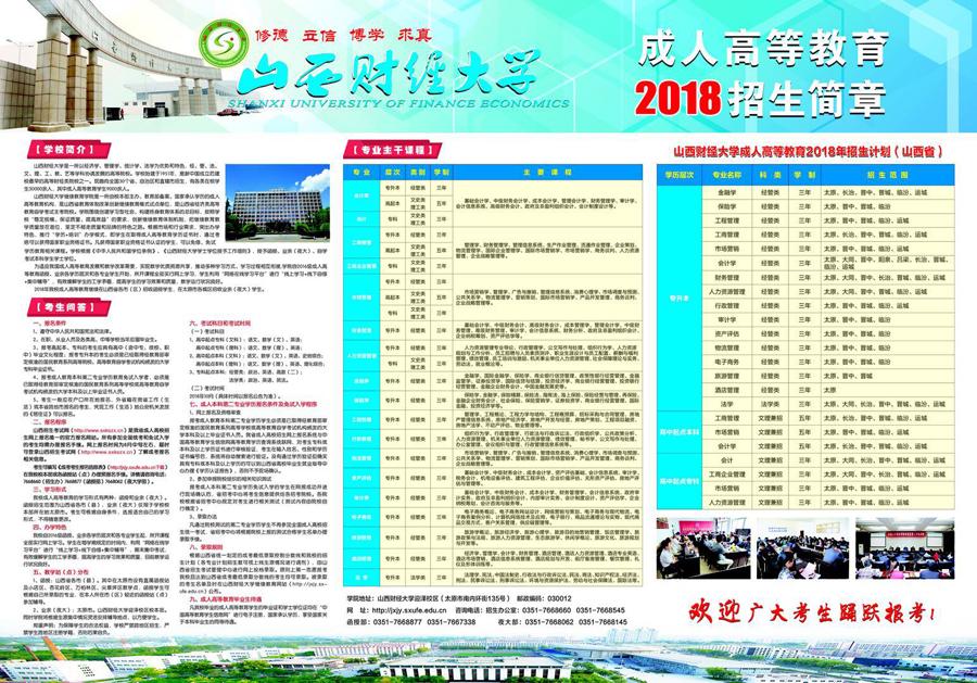 2018年山西财经大学成人高考报名时间